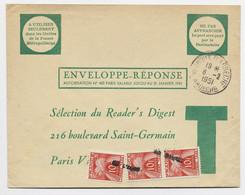 ENVELOPPE REPONSE NE PAS AFFRANCHIR VERNOUX ARDECHE 8.2.1951 POUR PARIS TAXE 10FRX3 ANNUALTION GRIFFE - Strafportbrieven