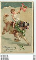 N°12836 - Carte Gaufrée - Bonne Et Heureuse Année - Bébé Sur Un Chien - Anno Nuovo