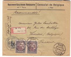 Lettonie - Lettre Recom De 1921 ° - Oblit Riga - Exp Vers Verviers - Consulat De Belgique à Riga - - Lettland