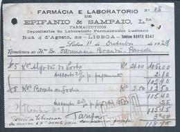 Fatura De 1929 Laboratório Farmaceutico Lusitano, Lisboa. Borato De Sódio. Invoice Pharmaceutical Laboratorio. Sodium Bo - Portugal