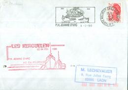 MARCOPHILIE - LES KERGUELEN  LE 04 FEV. 1990 P.H JEANNE D'ARC ET Cdt BOURDAIS.(Griffe Rouge). - Poste Navale