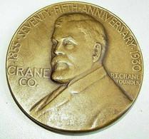 Médaille Bronze  - 75ème Anniversaire - R.T. Crane Founder - Chicago - Art N.Y. - 1930 - TTB - Professionali/Di Società