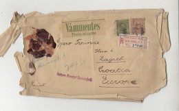 Vámmentes - Prosto Od Carine Sticker On Letter Cover Posted Registered 1908 NY To Zagreb, Croatia B210901 - Cartas