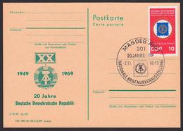 Magdeburg SoSt. 2.11.89 20 Jahre DDR Auf GA Mit Priv. Zudruck, 20 Jahre DDR, Mit Dv PP4-69, Wertst. Unter Mke - Privatpostkarten - Gebraucht
