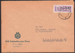Pirna Zellstoffwerke Brief ZKD B7 20 Pf 11.4.57 Nach Dresden - Service