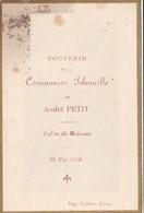 Faire-part : Communion : Souvenir De La Communion Solennelle : André Petit - église De Molesme - Yonne : 1916 - Communion