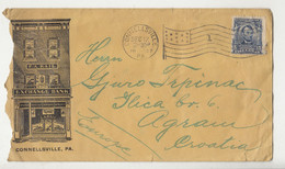 F.A. Kail. Exchange Bank Illustrated Letter Cover Posted 1907 Connellsville, PA Pmk B210901 - Cartas