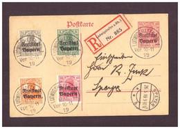 Bayern Gansache + Zusatzfrankatur - Germania Freistaat Bayern 1919 Einschreiben - Bavaria