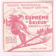 """ÉTIQUETTE DE FROMAGE  -FROMAGE - FABRIQUÉ EN LOZERE - SUPREME """"SKIEUR"""" 40% MG - Cheese"""