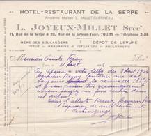 TOURS HOTEL RESTAURANT DE LA SERPE ETS L JOYEUX MILLET DEPOT DE MARGARINE LEVURE ANNEE 1936 - Non Classés