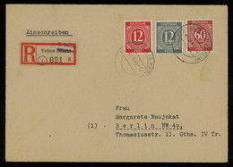 TREASURE HUNT [01202] Allied Occupation 1946 Reg. Cover From Velten To Berlin Bearing Numeral Issue 12 Pf+12 Pf+60 Pf - Zona AAS