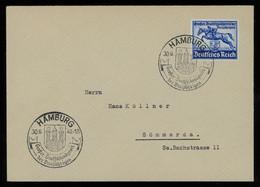 TREASURE HUNT [01226] Germany 1940 Hamburg Horse Race Issue 25+100 Pf Blue On FDC Sent To Sömmerda, Special Pmk. - Storia Postale