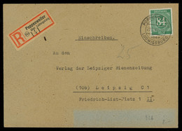 TREASURE HUNT [01260] Allied Occupation 1947 Reg. Cover Sent From Poppenweiler To Leipzig Bearing Numeral 84 Pf Green - Zona AAS