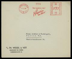 TREASURE HUNT [01287] Denmark 1938 Cover To Berlin Bearing 30 Ø International Postage Meter Stamp, Slogan Pmk. - Viñetas De Franqueo (ATM/Frama)