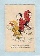 CPA Cyclisme : L'Équipe Nationale Belge Roger DE NEEF - A. CHARLIER, Illustrateur Abel PETIT, Caricaturiste. Vélo. - Ciclismo