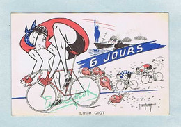 CPA Cyclisme : Émile DIOT, Illustrateur Abel PETIT. Signature Du Coureur. Caricaturiste. Vélo. - Ciclismo