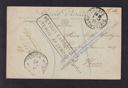 Carte-Vue De CALAIS 1917 Vers HULL - Cachet Violet Dépot Dans Boites Civiles Interdit + Retour Expéditeur Vers PMB - Otras Zonas