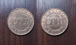 GOLD CASINO TOKEN GAME GAMING GAMBLING SLOT MACHINE JETON GETTONE FISH CHIP Metal Copper Ø24,1mm - Casino