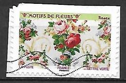 FRANCE   -   2021 .  Motifs De Fleurs  /  Roses,  Oblitéré Sur Fragment - Adhesive Stamps