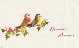 1052 - CARTE BONNE ANNEE . OISEAUX SUR BRANCHE DE HOUE - Anno Nuovo
