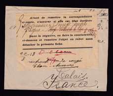 HOPITAUX - Enveloppe UK 1918 Vers HMB CALAIS - RRR Griffe PLUS PRESENT Hopital GRAVELINES + Etiquette De Controle - Otras Zonas