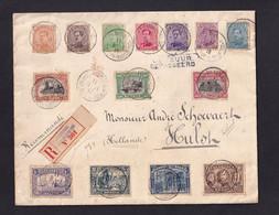 STE ADRESSE 1916 - Enveloppe Reco Vers HULST NL - Série 14 Valeurs Albert , Y Compris Le 5 F FRANKEN (COB 550 EUR S/l) - Otras Zonas