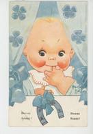 """Illustrateur BEATRICE MALLET - ENFANTS - Jolie Carte Fantaisie Bébé Et Fer à Cheval """"Bonne Année - Bonne Santé """" - Mallet, B."""