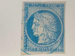 Timbre Cérès Oblitéré Réunion En Bleu - Used Stamps