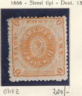 Germania Antichi Stati- Brema 1866-67-stemma 2 G. Arancio Carta Vergata Orizzontalmente Siglato N.10 Unificato - Bremen