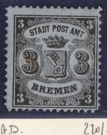Germania Antichi Stati- Brema 1866-67-stemma 3 G. NERO  Carta Vergata Orizzontalmente Siglato N.11 Unificato - Bremen