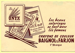 Buvard Baignol Et Farjon, Crayons De Couleurs. - Stationeries (flat Articles)
