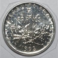 GADOURY 771 - 5 FRANCS 1993 TYPE SEMEUSE FRAPPE MEDAILLE - FDC - KM 926 - - J. 5 Francs