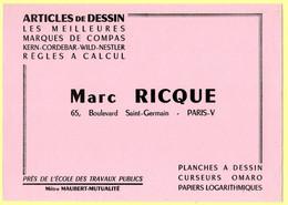 Buvard Marc Rique, Articles De Dessin, Compas, Règles à Calcul ....65 Bd. Saint-Germain à Paris. - Stationeries (flat Articles)
