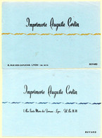 Buvard Imprimerie Auguste Cretin à Lyon. 2 Buvards Différents. - Stationeries (flat Articles)