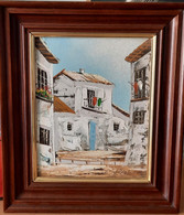 Olieverf Schilderijtje Van Een Mediterraans Dorpje - Oleo
