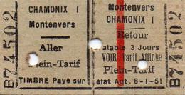 Ticket Aller-Retour Train Chamonix Montenvers - Europe