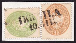 AUSTRIA / ÖSTERREICH - LEVANT - 1863 (3 + 15 SLD - Mi. V 15 + V 18) - STEMPEL : IBRAILA / ROMANIA - RRR !!! (ag602) - Oriente Austriaco