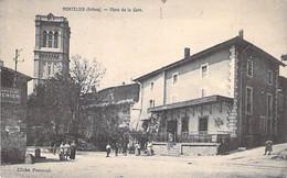 26 - MONTELIER : Place De La Gare ( Animation ) - CPA Village ( 4.075 H ) Drôme - Autres Communes