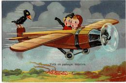 Deux Enfants Dans Un Avion Voilà Un Passager Imprévu Circulée En 1933 - Szenen & Landschaften