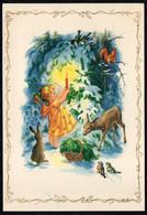B9084 - Glückwunschkarte Weihnachten - Winterlandschaft Engel Angel Bambi Eichhörnchen Squirrel écureuil - Ohne Zuordnung