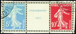 FRANCE  XXe SIECLE N°242 A Strasbourg 1927 Paire Avec Intervalle TB Qualité:OBL - Oblitérés