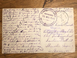 """CP """"Mignon"""" Amour Guerre Seraing 14-5-1915 -> Munster (Lager) Hannover 2 Censures Munsterlager 18-5-1915 - Prisonniers"""