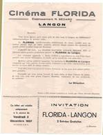 - F28915PAP - CINEMA - Prospectus Salle De CINEMA FLORIDA - LANGON -SEDARD - 1937 - Bon état - THEMES - Publicités