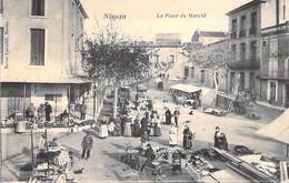 COMMERCE Marchés Et Foires - 34 - NISSAN : La Place Du Marché Un Jour De Marché ( Bonne Animation ) CPA - Hérault - Mercati