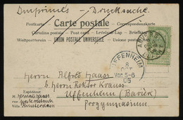 TREASURE HUNT [01324] Belgium 1905 Ill Post Card Sent As Printed Matter From Uffenheim To Avners Bearing 5c Green Stamp - 1893-1907 Armoiries