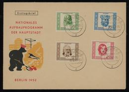 TREASURE HUNT [01327] DDR 1952 Berlin Development Off. FDC Bearing Personalities Issue 12 Pf+20 Pf+20 Pf+24 Pf+35 Pf - Briefe U. Dokumente