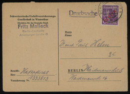TREASURE HUNT [01334] Allied Occupation 1949 Berlin Post Card Sent Localy, Bearing 6 Pf Magenta With Red Berlin Ovpt. - Zona AAS