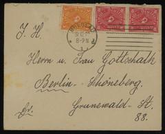 TREASURE HUNT [01368] Germany 1922 Cover From Breslau  To Berlin Bearing 5 M Orange+yellow+10 M Carmine Vertical Pair - Storia Postale