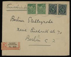 TREASURE HUNT [01389] Germany 1923 Reg. Cover Sent From Garmisch-Partenkirchen With 40 M Green Pair+50 M Green+rose Pair - Storia Postale