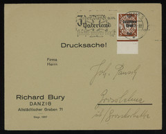 """TREASURE HUNT [01394] Danzig 1939 Cover Sent To Grosslehna Bearing 3 Pf Brown With """"Deutsches Reich"""" Ovpt. And Margin - Danzig"""